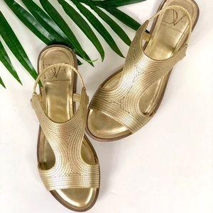 Diane Von Furstenburg Gold Flat Sandals | Size 6